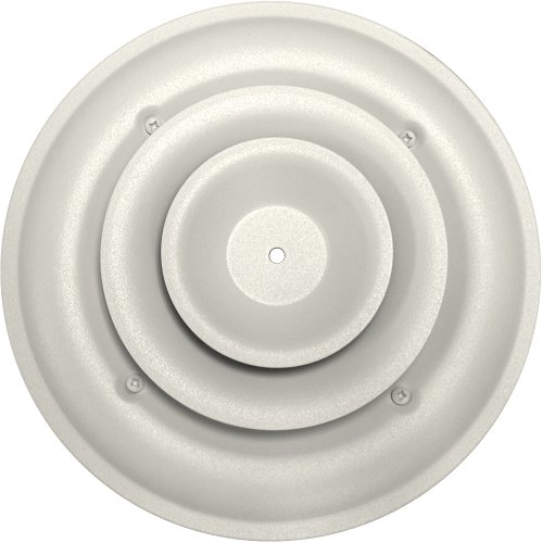 Speedi-Grille SG-RCR 06 6-Inch Round White Ceiling Air Vent Register with Fixed Cone Diffuser and Bowtie Damper by Speedi-Grille
