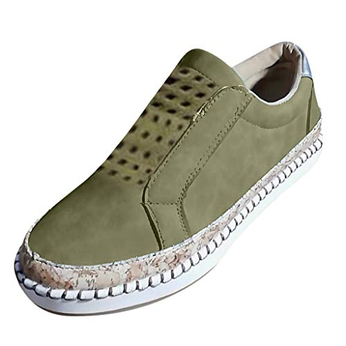TnaIolral 2019 Womens Shoes Flats Hollow Round Toe Casual Non-Slip Breathable Summer Sneakers (US:6.5, Green)