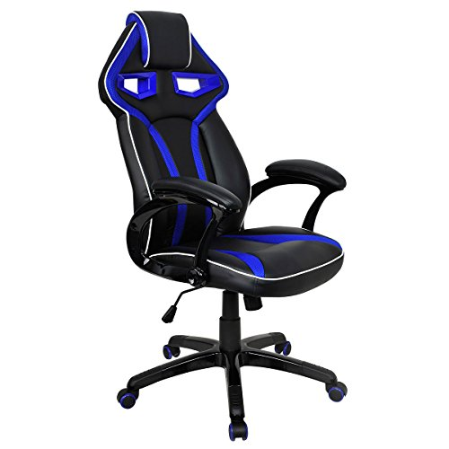 Giantex Racing Bucket Seat Office Chair High Back Gaming Chair Desk Task Ergonomic (Blue) by Giantex