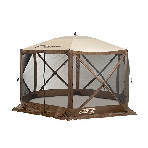 (Quick Set 9879 Escape Shelter, 140 x 140-Inch Portable Popup Gazebo Durable Tent Bug and Rain Protection Easy Setup (6-8 Person), Brown/Beige )
