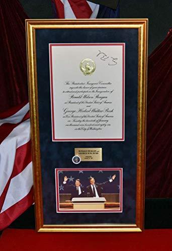 Bush Frame (GEORGE H.W. BUSH Signed Autograph, COA, UACC RD#228, REAGAN Inauguration, Piece of Inaugural Platform, Coins Frame)