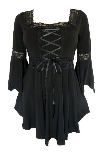 Dare to Wear Victorian Gothic Peasant Plus Size Women's Plus Size Renaissance Corset Top, Black 2x -
