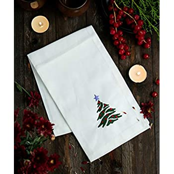 Cotton Dinner Napkins, Made with 100% Pure Cotton, Christmas Tree Embroidered of Size 17 X 17 Inches, 6 Pack Napkins Soft and Comfortable - Durable Hotel Quality