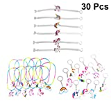 TOYMYTOY Kids PVC Unicorn Keychains Wristbands Necklaces for Unicorn Party Supplies,30pcs (Random Style)