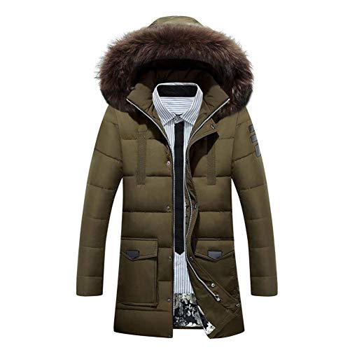 Sleeve Long Warm Coats Grün Coat Armee BoBoLily Winter Coat Down Men's Winter Jacket Parka Long Hoodie Coat Jacket Hooded zZq7P1
