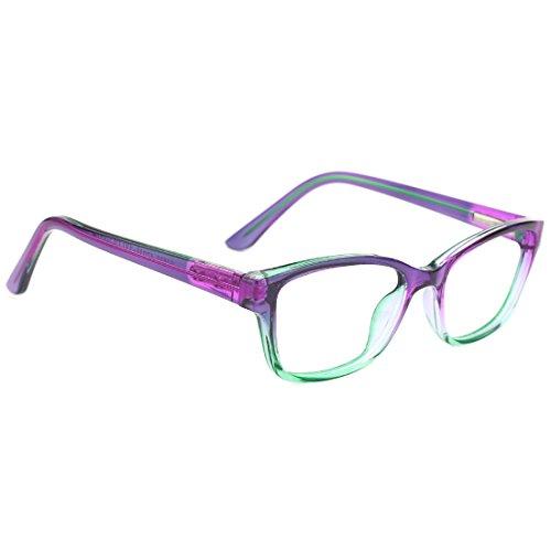 modesoda Kids Nerdy Rectangular Glasses Translucent Non-prescription Eyeglasses for Girls Boys