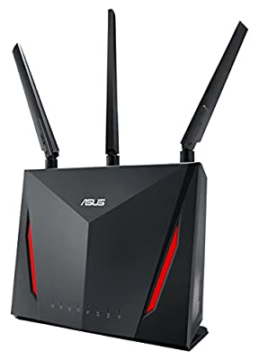 ASUS RT-AC86U Dual Band Wireless Router AC2900 WiFi with 4-Port Gigabit LAN, 1.8GHz Dual-Core Processor, USB 3.1 Gen1 and Aiprotection Network Security Powered by Trend Micro