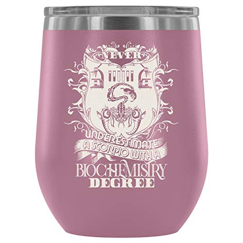 Stainless Steel Tumbler Cup with Lids for Wine, Never Underestimate A Scorpio Wine Tumbler, Biochemistry Degree Vacuum Insulated Wine Tumbler (Wine Tumbler 12Oz - Light Purple)