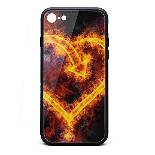 iPhone 8 Case iPhone 7 Case Flames Love Heart Shaped Wallpaper Classic Skid-Proof TPU Soft Rubber Silicone Cover Phone Case Compatible with iPhone 7 iPhone - Heart Calgary Flames