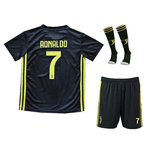 670c7e575  7 Cristiano Ronaldo Home Kid Soccer Jersey   Matching Shorts Set 2018 2019  (Black (Juve)