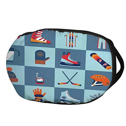 (Fashion Cotton Antidust Face Mouth Mask,Kids,Ice Skating Winter Sports Skiing Boot Cap Glasses Glove Helmet Skates Snowboard Print,for women & men)
