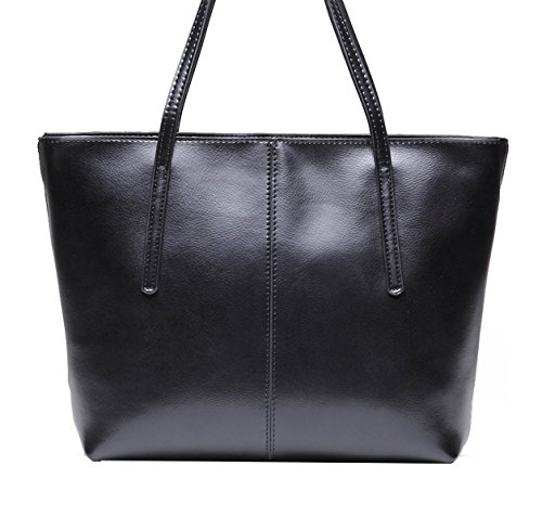 CHERRY CHICK Women's Durable, Large, Genuine Soft Leather Tote Bag-Shoulder Bag-Classic Purse (Shiny Black) ()