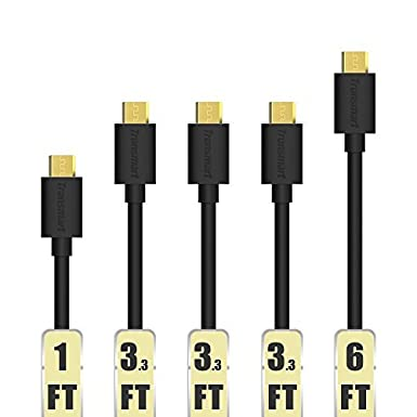 Micro USB Cable, Tronsmart [5 Pack] 20AWG Durable Charging Cable for Samsung, Nexus, LG, Motorola, Android Smartphones (Black, 1ft x 1,3.3ft x 3,6ft x 1)