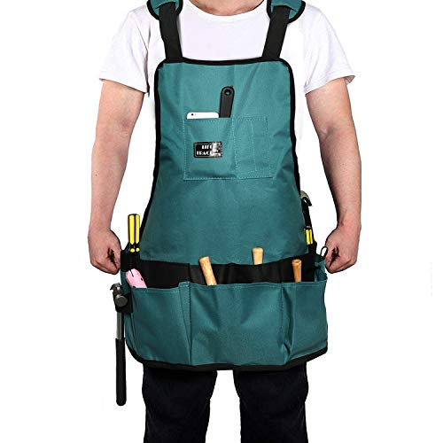 LIFE TRACE Canvas Tool Apron, with 16 Pockets, For Gardening Care, Tool organizer, Working, Carpenter, Thick-padded Shoulder Straps, Adjustable, waterproof, M-XXL, Teal color