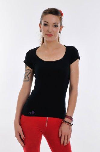 Mujer mujer 3elfen de Camiseta Cuello Moon Negro Top manga prenda corta redondo Camisa con Morado de para hadas EZxqBZwR