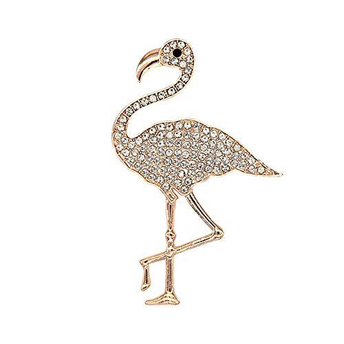 Swarovski Pink Vintage Brooch - AILUOR Enamel Flamingo Brooch, Golden Tone Pearl escent Pink Crane Bird Crystal Rhinestone Brooch Pin for Women (C)