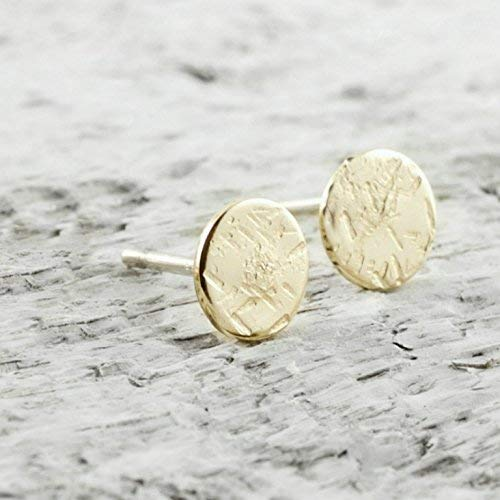 Gold Disc Filled (Tiny Disc Stud Earrings In 14k Gold Filled Jewelry Gift For Women Sparkle Texture)