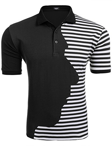 Coofandy Men's Classic Fit Short Sleeve Striped Golf Polo Shirts Fashion T-Shirt,Black,Large