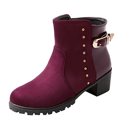 Women's Boots Western Rivet Heel Mid Buckles Short Wine Concise Carol Shoes Red Martin qfUwC1