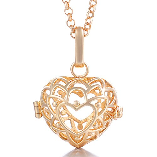 - HENGSHENG Pearls Beads Locket Cage Pendant Necklace Heart Hollow Shape Gold Color Plated for Pearl Oyster can be Opened