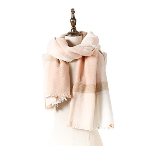 Natural Feelings Womens Fashionable Cozy Soft Big Grid Winter Scarf Wrap Shawl  Off White