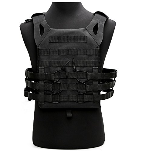 Tactical Airsoft Outdoor Molle Breathable JPG Vest Game Protective Vest Modular Chest Set Vest for Fun (Black)
