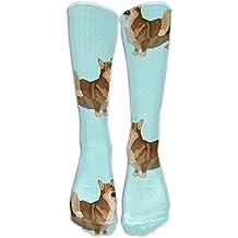 Funny Sweet Corgi Drink Water Men & Women Athletic Socks Running Socks Fit To SIZE 6-10