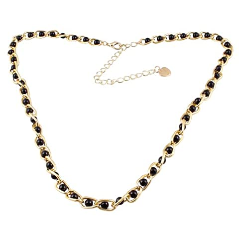 uxcell Ladies Gold Tone Metallic Dangling Heart Black Faux Pearl Decor Curbchain Waist Belly Chain