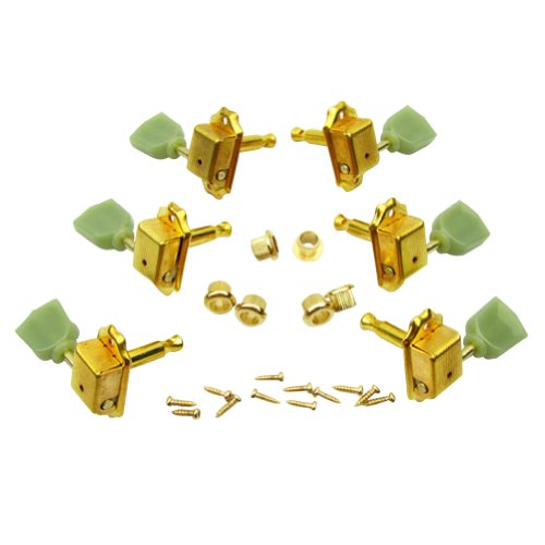 Musiclily 3 Right 3 Left K Style Guitar Tombstone Tuning Keys Pegs Machine Heads Tuners Set for Gibson Les Paul Replacement, Gold