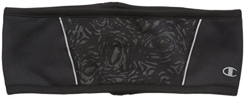 Champion Women's Tech Stretch Printed Headband with Pony Opening, Black, One Size