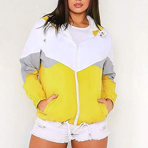 TiaQ Femmes Coudre Longues Manteau Manches Zipp Yellow Peau Mince Convient Automne Capuchon 2018 UrawqTWxSU