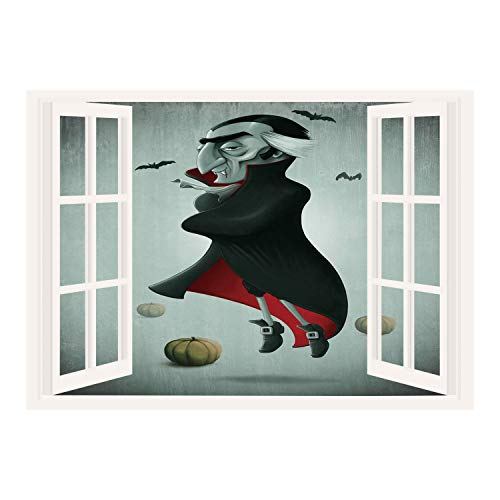 SCOCICI Wall Mural, Removable Sticker, Home Décor/Vampire,Creepy Halloween Night Pumpkins and Old Vampire with Cape Flying Bats,Black Almond Green Red/Wall Sticker Mural ()