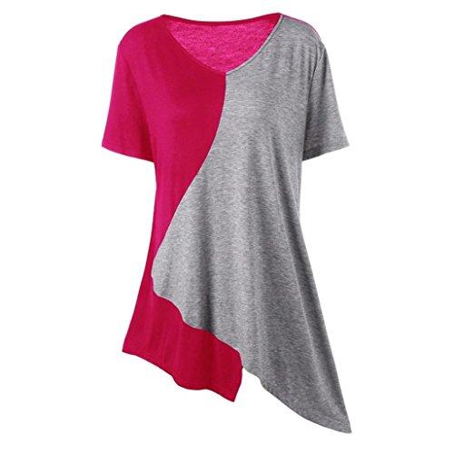 Han Shi Plus Size Blouse, Fashion Patchwork Top Long Casual Short Sleeve Shirts (Hot Pink, 3XL)