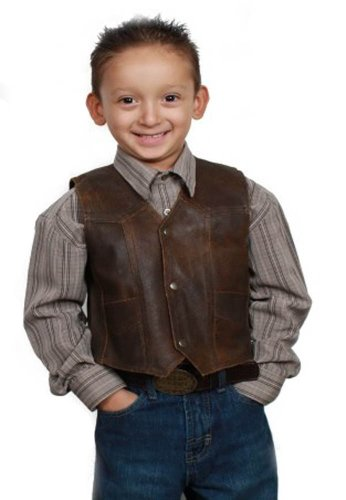 - Kids cowhide Distress Brown Leather motorcycle vest.Classic Biker and western Style
