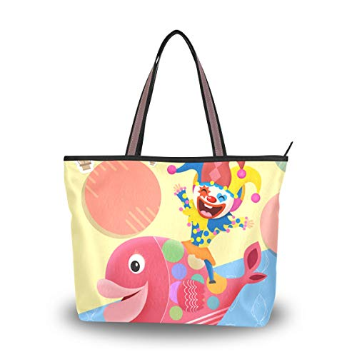 JERECY Cute Fish With Clown Shoulder Tote Bag Top Handle Polyster Shopping Handbag for Women Girls