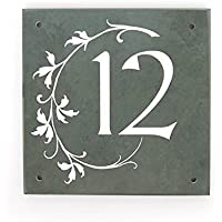 Personalised stylish large 1 or 2 digit green slate house number with motif 17.5x17.5 cm by Signs & Numbers
