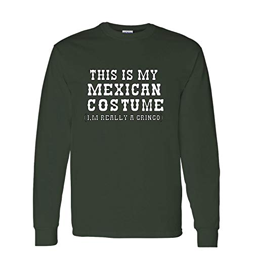 (This is My Mexican Costume Cinco De Mayo Mens Long Sleeve Graphic T-Shirt, Forest Green, XXX-Large )