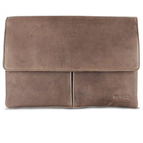 ROYALZ Schutztasche Leder für Apple MacBook 12 Tasche Schutzhülle Lederhülle Notebook Case Retro Vintage Look Leder grau /braun