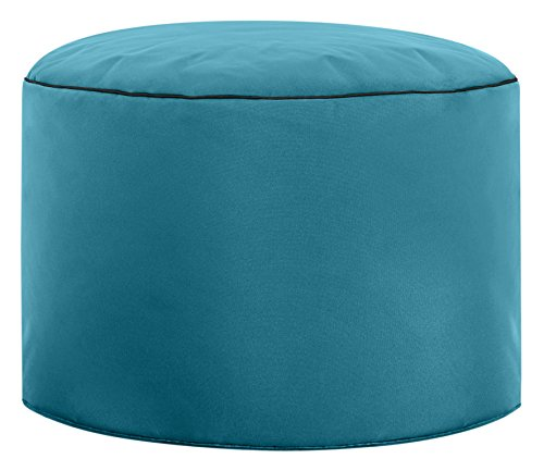 Gouchee Home Dotcom Pouf Collection Contemporary Polyester Upholstered Round Pouf/Ottoman, Turquoise