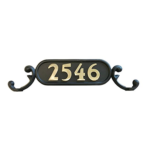 Addresses of Distinction Charleston Mailbox Address Plate - Mailbox Plaque with Solid Brass Numbers - Customized House Digits - Double Sided Sign - Rust Proof Aluminum - Hardware Included
