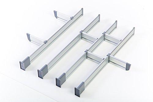 Adjustable Kitchen Drawer Dividers, Elegant Aluminum Modular Organizer 12 Dividers Set (Medium   for Drawers 17.5