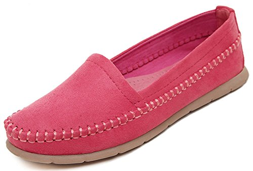 IDIFU Womens Comfy Round Toe Closed Flats Shoes Low Top Slip On Work Loafers Red 38YSKoN