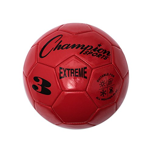 Champion Sports Extreme Series Soccer Ball, Size 3 - Youth League, All Weather, Soft Touch, Maximum Air Retention - Kick Balls for Kids Under 8 - Competitive and Recreational Futbol Games, Red - Red Soccer Ball