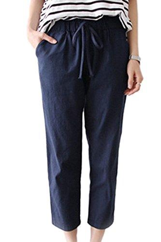 Libero Lunga Donna Ragazze Tempo Style Elastica Estivi Pantaloni Coulisse Elegante Lino Vita Navy Festa Monocromo Trousers 7rqzB7x