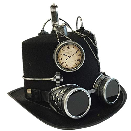 Storm Buy ] Steampunk Style Metallic Top Hat Scientist Time Traveler Halloween Costume Cosplay Party with Goggles (Silver)