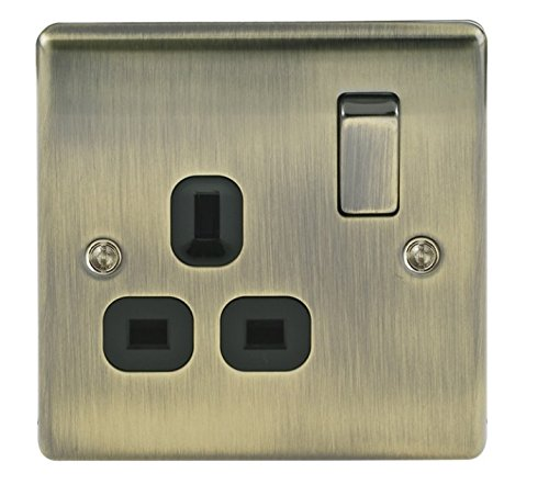 Masterplug NBS21G 13 A 1-Gang Metal Brushed Steel Double Pole Switched Socket - Grey Insert Nexus (Jiaxing) NBS21G-01