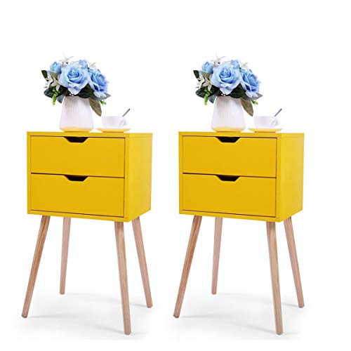 JAXPETY Set of 2 Nightstand 2 Drawers End Table Storage Wood Cabinet Bedroom Accent Side Table (Yellow) ()
