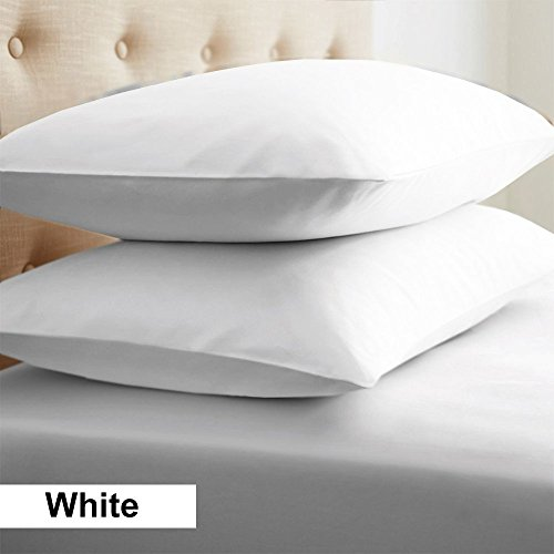 2-Piece- Euroshams ~ Solid Pattern 100% Pima Cotton 500 Thread- Count European Super Soft 2 PC Pillow Cases ( 26 x 26 Inch (66cm x 66cm ) , White)