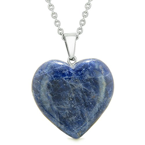 Lucky Puffy Heart Charm Crystal Sodalite Good Luck Protection Powers Amulet Pendant 18 Inch Necklace