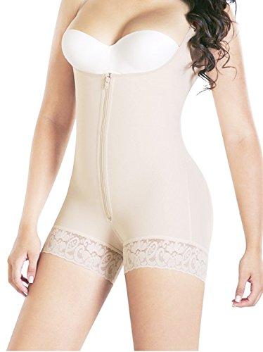 Bslingerie Women Lingerie Open Bust Body Shaper Shaperwear Bodysuit (XL, Beige- Adjustable Straps II)